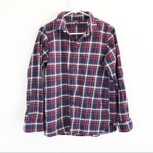 Uniqlo Plaid Red & Blue Button Down Flannel Shirt